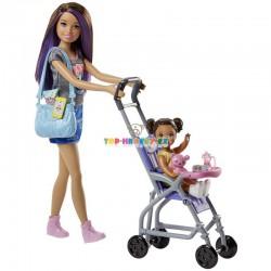 Barbie Chůva herní set s kočárkem