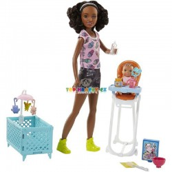 Barbie Chůva černoška herní set s postýlkou