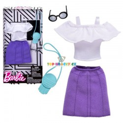 Barbie bílý top a fialová sukně s doplňky