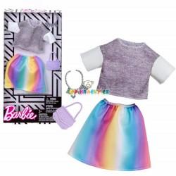 Barbie šedé tričko a duhová sukně s doplňky