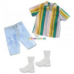 Barbie Kenovy oblečky s pruhovanou košilí a jeans kraťasy