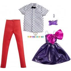 Barbie fashoin 2ks Barbie/Ken oblečky fialové šaty