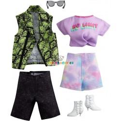 Barbie fashoin 2ks Barbie/Ken oblečky zelená vesta