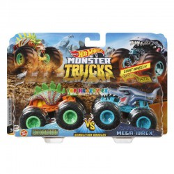 Hot Wheels Monster Trucks Monster Motosaurus a mega Wrex demoliční duo
