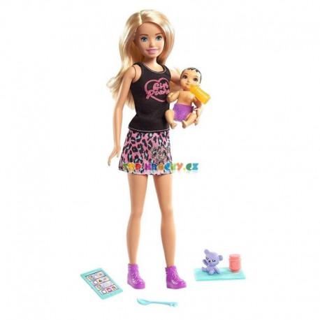 Barbie Chůva blondýnka a miminko s doplňky