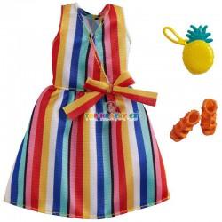 Barbie oblečky pruhované šaty s doplňky