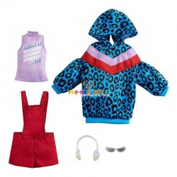 Barbie fashion oblečky modrá mikina s kapucí a kraťasy