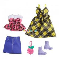 Barbie fashion oblečky kostkové šaty, top a sukně